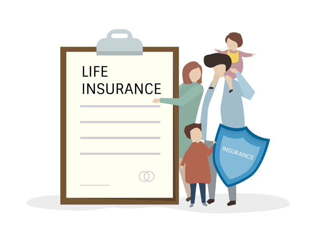 Illustration of people with life insurance
